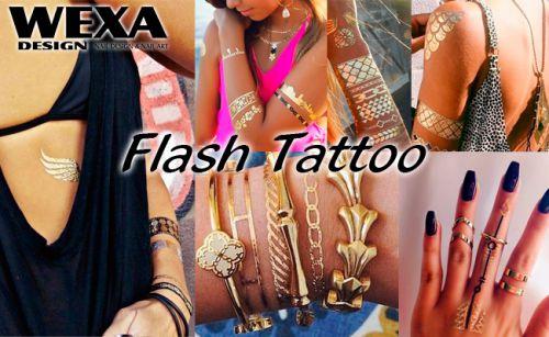 Flash Tattoo - zlaté metalické tetovanie na telo