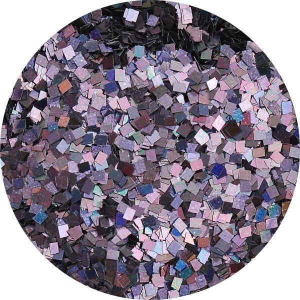 Konfety štvorčeky mini - 24 metal hologram čierne