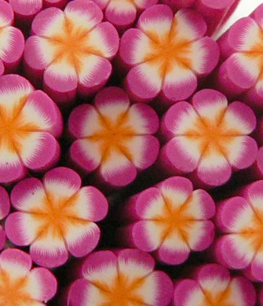 FIMO tyčinka - Kvetinka oranžovo ružová