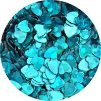Konfety srdiečka - 32 tyrkysové metal hologram