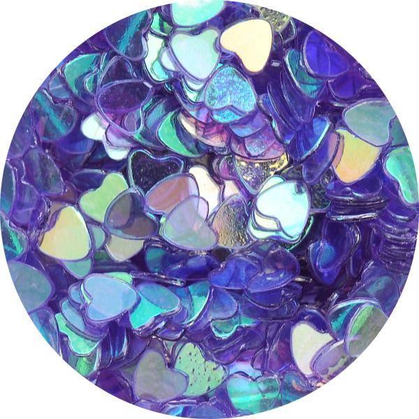 Konfety srdiečka - 38. fialovomodré aqua hologram