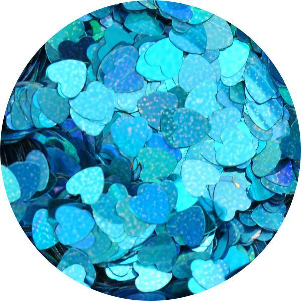 Konfety srdiečka plné slim - 7. tyrkysové metal hologram