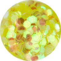 Konfety hexagony - 16. krikľavožlté aqua hologram