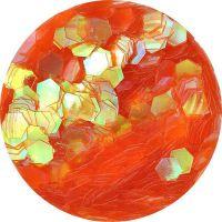 Konfety hexagony - 17. oranžové aqua hologram