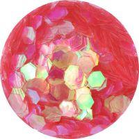 Konfety hexagony - 18. ružové aqua hologram