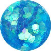 Konfety hexagony - 19. tyrkysové aqua hologram