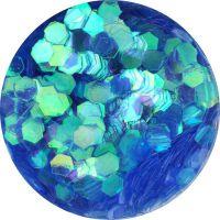 Konfety hexagony - 20. modré aqua hologram