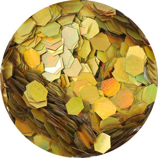 Konfety hexagony mix - 4. zlaté metal hologram