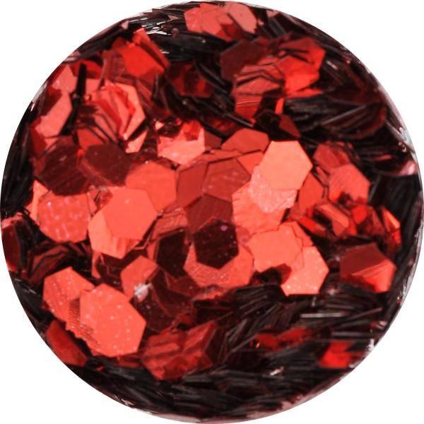 Konfety hexagony mix - 7. červené metal