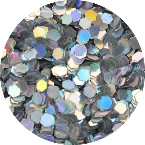 Konfety hexagony medium - 1. strieborné metal hologram