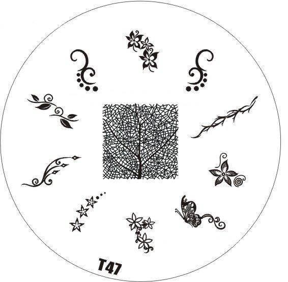 Tribal Stamping Nail Art platnička - T47