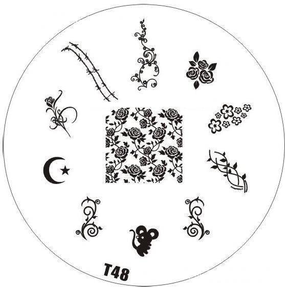 Tribal Stamping Nail Art platnička - T48