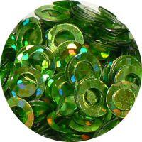 Konfety flitre obrúčky - 26. Metal Hologram Green