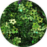 Konfety kvetinky s dierkou - 10.zelené metal