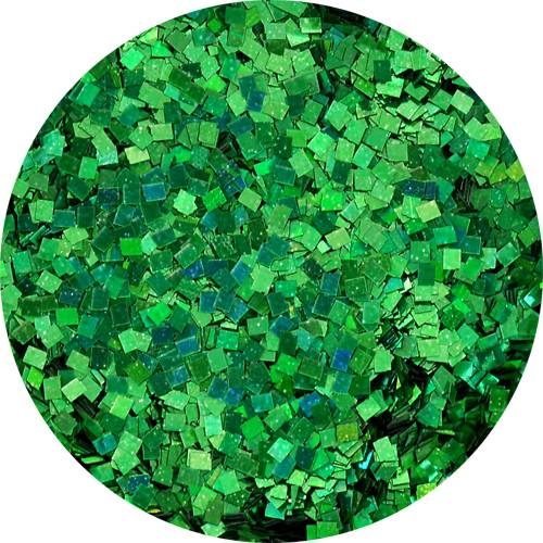 Konfety štvorčeky mini - 22 metal hologram zelené