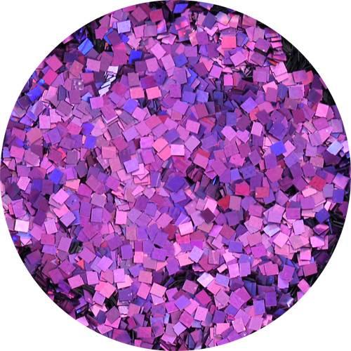 Konfety štvorčeky mini - 18 metal hologram fialové