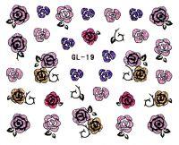 Glitter nálepky - ružičky GL-19