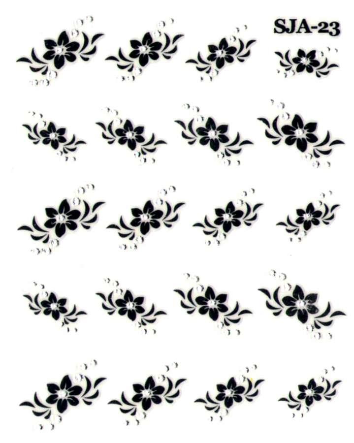 Nálepky na nechty Black kamienkové - KvietkySJA23