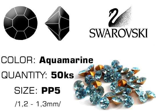 Swarovski kamienky na nechty D - Aquamarine PP5