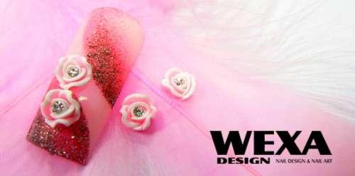 Ozdoby na nechty FIMO 3D ružičky