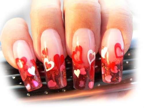 Valentínske zamilované gélové nechty
