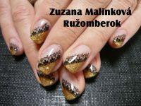 Farebný Glamour Glitz UV gél - Gold