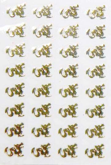 Nálepky kovové - Drak zlato