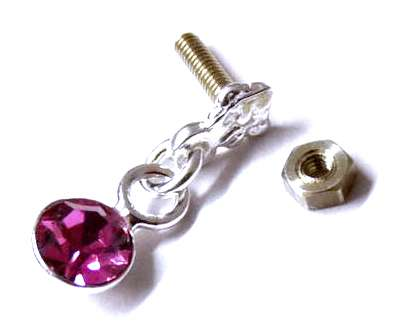 Strieborný piercing Magenta