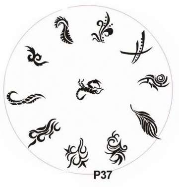 Stamping Nail Art platnička - P37