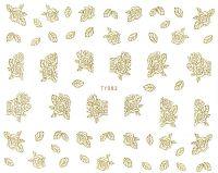 3D BIG gold nálepky na nechty TY063