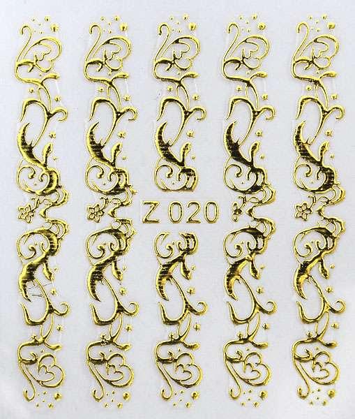 3D gold nálepky na nechty Z020