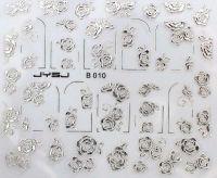 3D silver nálepky na nechty B010