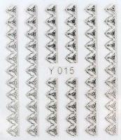 3D silver nálepky na nechty Y015