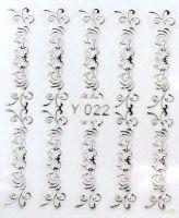 3D silver nálepky na nechty Y022