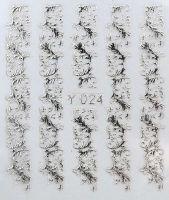3D silver nálepky na nechty Y024