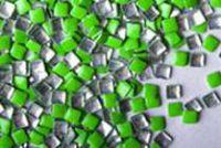 Kovová ozdoba na nechty - Neon green square 3mm