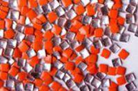 Kovová ozdoba na nechty - Neon orange square 3mm