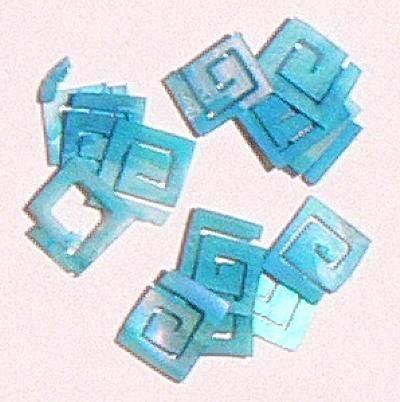Mušle ornamenty kocky - tyrkysové 6