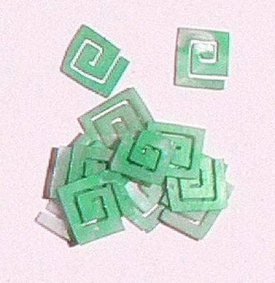 Mušle ornamenty kocky - zelenomodré 7