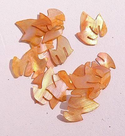 Mušle ornamenty lístočky - oranžové 13