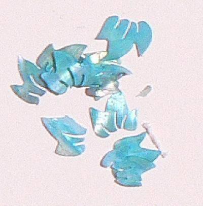 Mušle ornamenty lístočky - tyrkysové 15