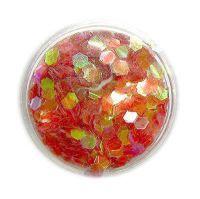 Konfety hexagony - červené aqua
