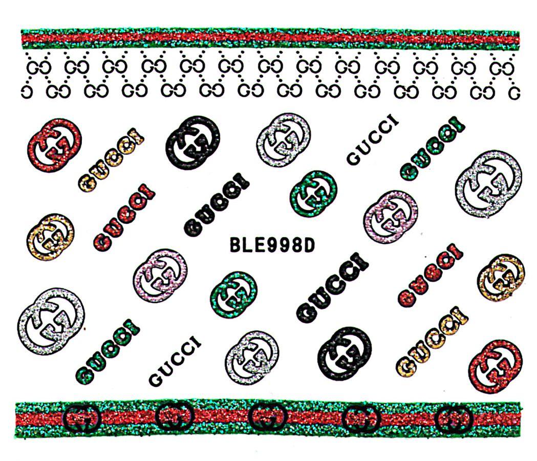 Glitter nálepky na nechty BLE998D Gucci