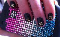 Kovové príklepky do nechtov Chanel gold