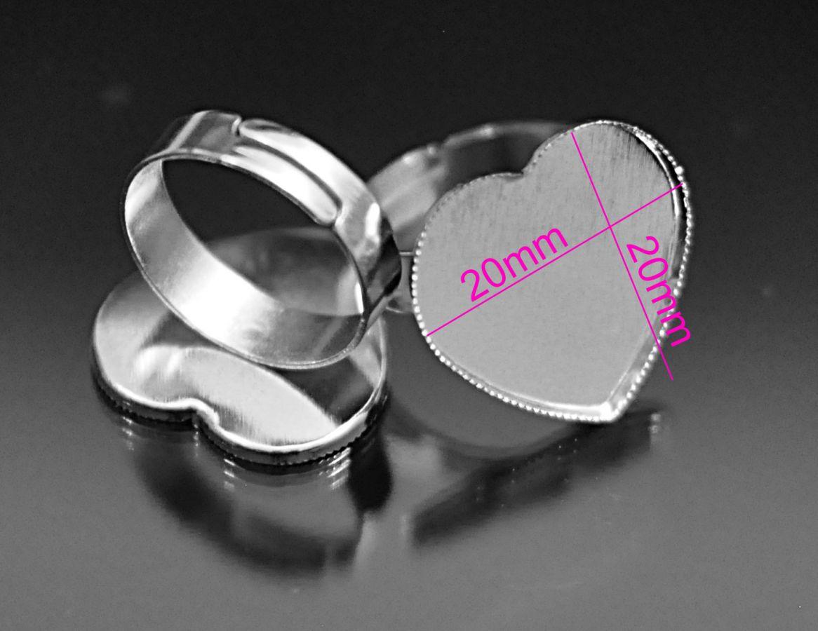 Prsteň lôžko - Srdce 20x20mm