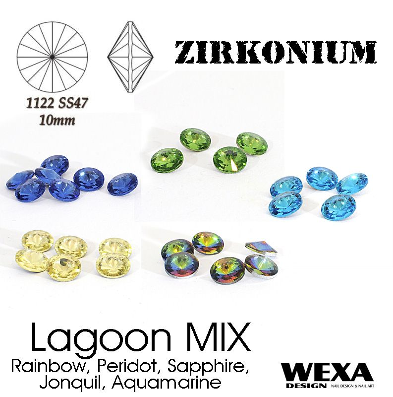 ZIRKONIUM Rivoli 10mm - Lagoon MIX
