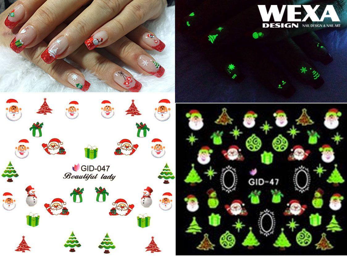 Fosforové vianočné vodolepky na nechty - GID047