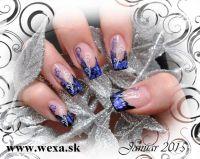 Gelove nechty - modelacia - farebny uv gel - otlacacie folie na nechty - stamping nail art