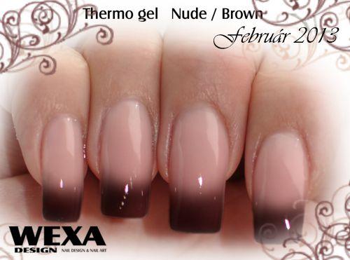 Hnedé gélové nechty - Thermo gel Nude Brown