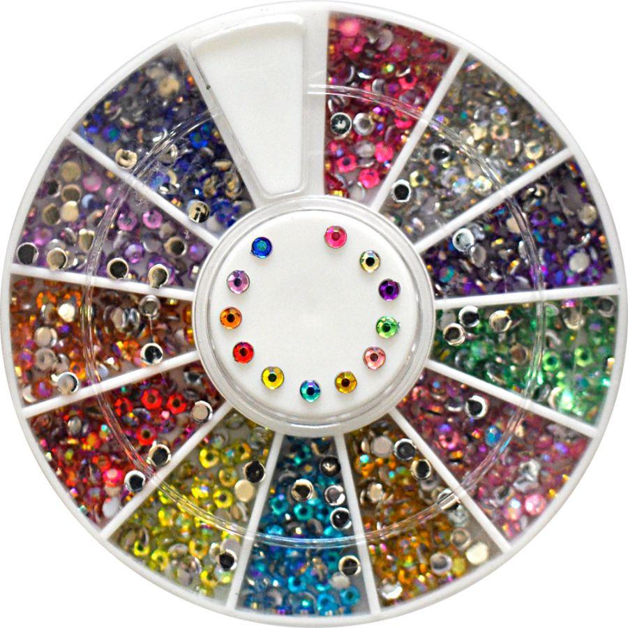 Diamanty farebné kamienky v kolotoči AB stredné